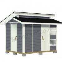 Murrettu harjakattoinen puuvaja-varasto 7,7 m2